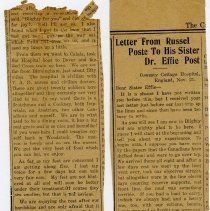Image of A2015.121.015 - Letter from Russel Poste to his sister Dr. Effie Post, The Canadian Echo
