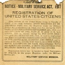 Image of A2015.121.016 - Notice - Military Service Act, 1917, Canadian Echo, Oct. 1918