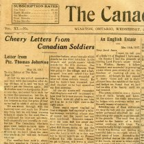 Image of A2015.121.018 - Cheery letters from Canadian soldiers column, Canadian Echo, Jun 6, 1917
