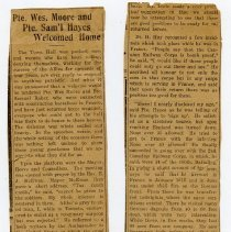 Image of A2015.121.019 - Pte. Wes Moore and Pte. Sam'l Hayes welcomed home, Canadian Echo, July 11, 1917