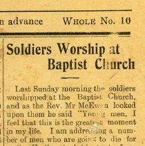 Image of A2015.121.026 - Soldiers worship at Baptist Church, Canadian Echo, Feb. 9, 1916