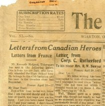 Image of A2015.121.027 - Letters from Canadian Heroes, Canadian Echo, May 23, 1917 : Jack McLeod and Cecil Rutherford.
