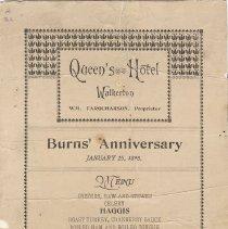 Image of Burns' Anniversary, January 1898, menu