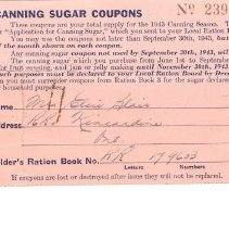 Image of Ration book enclosure, Caning Sugar Coupons, Elsie Blair