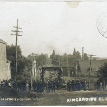 "Image of A996.016.002 (220) - Arrival of Detroit & Chicago ""Special"", Kincardine Old Boys1907"