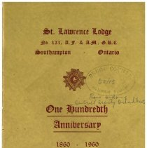 Image of Cover, St. Lawrence Lodge centennial programme