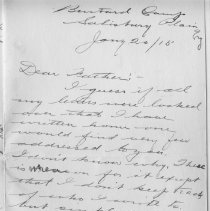 Image of Page 1, Lionel Tranter Letter Jan 20 1915