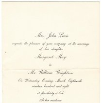 Image of Lewis and Wrightson wedding invitation, 1908