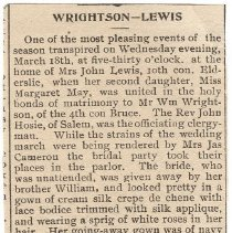 Image of Wrightson-Lewis wedding newspaper clipping, 1908