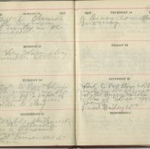 Image of A988.033.055, Sample of 1912 John Peirson diary, with Titanic reference