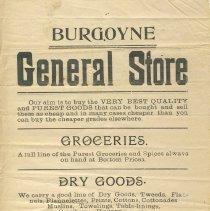 Image of Burgoyne General Store handbill