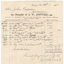 Image of J.W. Chittick receipt to Peirson, 1899