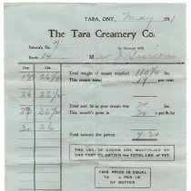 Image of A988.033.052b front side, Tara Creamery invoice to Pierson, May 1911