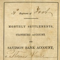 Image of Page 1 of Vance Settlements, Clothing and Savings Account book