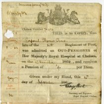 Image of Royal Hosptial pension certificate, Thomas Vance, front side
