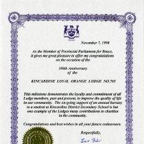 Image of A2006.022.060 Kincardine L.O.L. 100th Anniversary Certificate