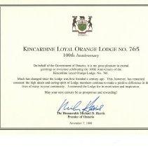 Image of A2006.022.061 Kincardine L.O.L.100th Anniversary Certificate