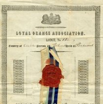 Image of A2008.016.002 - Certificate of declaration of Nathan Chapman as a member of the Loyal Orange Lodge No. 51