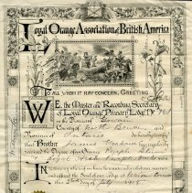Image of A2008.016.009 - Certificate of declaration of James Graham as a member of the Union Corners Loyal Orange Lodge, No. 761