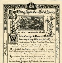 Image of A2008.016.010 - Certificate of declaration of John Welsh as a member of the Purple Hill Loyal Orange Lodge #612