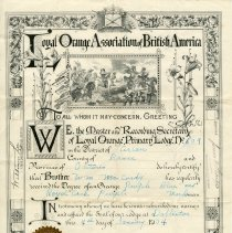 Image of A2008.016.011 - Certificate of declaration of William Fenton as a member of the Dobbinton Loyal Orange Lodge #609