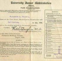 Image of A2011.039.S02.F01.001 - University Junior Matriculation pass examination certificate : Elizabeth A. Hillmer