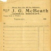 Image of J.G. McBeath, Teeswater, blank receipt