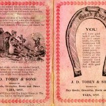 Image of Tobey & Sons needlecase card, outside