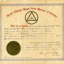 Image of R.B. Hillmer, Grand Chapter Royal Arch Masons of Canada certificate