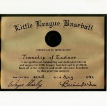 Image of AT2016.009.040 - Little League Baseball certificate of appreciation : Township of Eastnor