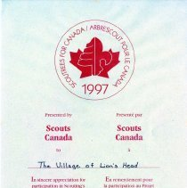 Image of AT2016.009.043 - Scouts Canada certificate of appreciation
