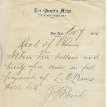 Image of Queen's Hotel, Port Elgin, receipt