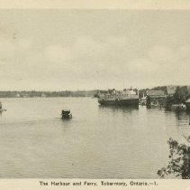 Image of The Harbour and Ferry, Tobermory, Ont., postcard front