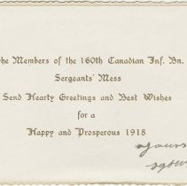 Image of Page 1, 160th Sergeants' Mess New Years card