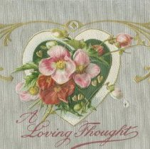 Image of A loving thought, Valentine postcard front