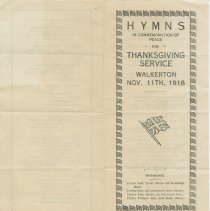 Image of AX2016.016.001 - Hymns in commemoration of peace for Thanksgiving Service, Walkerton, Nov. 11th, 1918