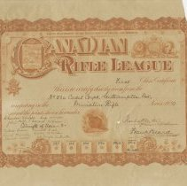Image of AX975.043.001 - Canadian Rifle League first class certificate