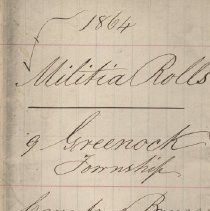Image of A987.032.003 - Militia roll for the Counties of Huron and Bruce : Greenock Township, County of Bruce, 1864