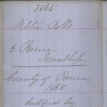 Image of A987.032.010 - Militia roll for the Counties of Huron and Bruce : Bruce Township, County of Bruce, 1865