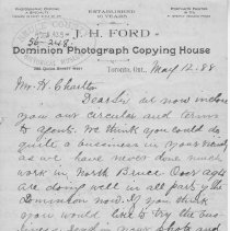 Image of J.H. Ford Dominion Photograph Copying House letter, page 1