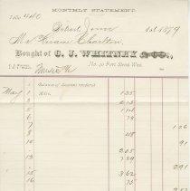 Image of A956.043.012b 1879 C.J. Whitney invoice to Hiram Charlton