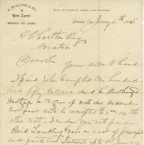Image of A956.043.012c enclosure - 1885 Letter To H Charlton, Wiarton