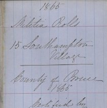 Image of A987.032.020 - Militia roll for the Counties of Huron and Bruce : Southampton Village, County of Bruce, 1865