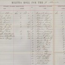 Image of Page 1 column 1 and 2, 1866 Albemarle Township Militia Roll