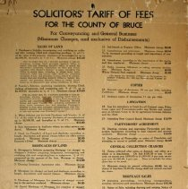 Image of Solicitors' tariff of fees for the County of Bruce