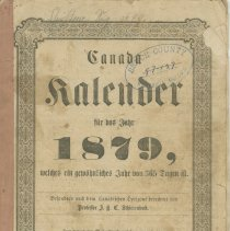 Image of A957.018.001:  1879 Canada Kalender, front cover