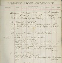 Image of Southampton Library Association stock catalogue and annual minutes, page 35