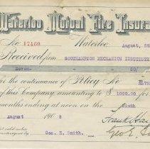 Image of Ax2011.121.017, Waterloo Mutual Fire Insurance renewal receipt