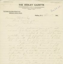 Image of Hedley Gazzette correspondence to Norman Robertson, page 1