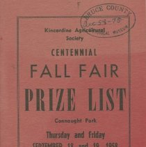 Image of Kincardine Agricultural Society Centennial Fall Fair Prize List, front cove